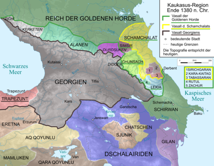Kingdom of Georgia, 1380. Caucasus 1380 map de.png