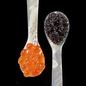 Caviar - Salmon roe (left) and sturgeon caviar (right) served with mother of pearl caviar spoons to avoid tainting the taste of the caviar.