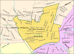 Census Bureau map of Bound Brook, New Jersey
