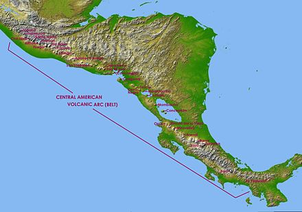 Map of the Central American volcanic arc, with captions showing the location of several volcanoes - in the Mexico/Guatemala border: Tacana; in Guatemala: Tajumulco, Santa Maria, Chicabal, Toliman, Atitlan, Volcan de Fuego, Volcan de Agua, Pacaya, Chingo; in El Salvador: Apaneca Range, Chinchontepec or San Vicente, Chaparrastique or San Miguel, Chinameca and Conchagua; in Nicaragua: Cosiguina, Telica, Cerro Negro, Momotombo, Apoyeque-Chiltepe, Mombacho and Concepcion; in Costa Rica: Orosi, Rincon de la Vieja, Miravalles, Arenal, Barva, Turrialba and Irazu; in Panama: Baru and La Yeguada. Central America volcanic belt.jpg