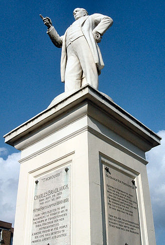 Northampton - Statue of the Northampton MP Charles Bradlaugh in the town.