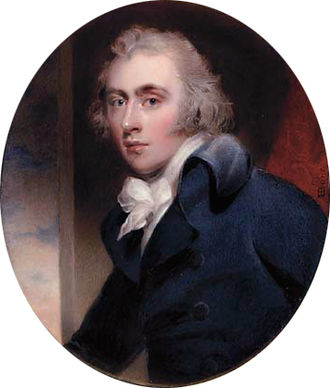 Charles Grey, 2nd Earl Grey - Grey in a blue coat, white waistcoat and tied cravat, and powdered hair, by Henry Bone (after Thomas Lawrence), August 1794.