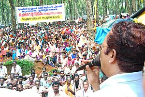 Charu Nivedita - Image: Charu speaks among Velichikala adivasis, May 12, 2008