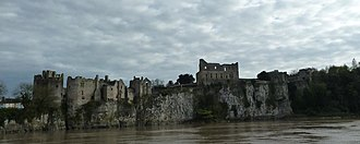 Chepstow Castle - Chepstow Castle, seen from the north bank of the River Wye