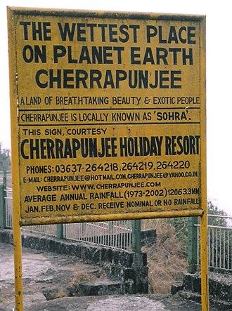 Meghalaya - A sign board in Cherrapunji