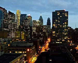 Chestnut Street (Philadelphia) - Image: Chestnut Street at Night
