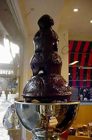 A chocolate fountain in Brussels