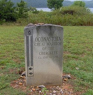 Oconostota - Oconostota's grave at the Chota memorial, in Monroe County, Tennessee.