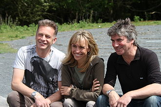 Michaela Strachan - The Springwatch presenters, Chris Packham (left), Michaela Strachan (centre) and Martin Hughes-Games (right), at the 2014 Springwatch media launch, RSPB Minsmere, Suffolk, England