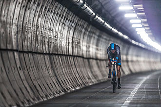 Cycling in the Channel Tunnel - Cycling on the screed surface in the Channel Tunnel service tunnel, between the two railway tunnels