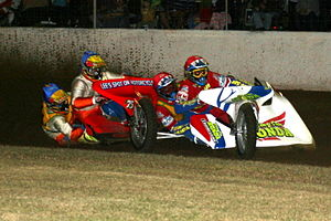 Sidecar speedway - Sidecar speedway racers in close proximity