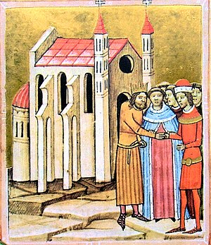 Coloman, King of Hungary -  The reconciliation between Coloman and his brother Álmos at the consecration of the monastery of Dömös (from the Illuminated Chronicle)