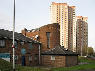 Cottingley, Leeds - Church in Cottingley, Cottingley Towers (forward) and Cottingley Heights (rear)