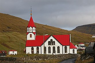 Sandavágur - Image: Church of Sandavágur, Faroe Islands