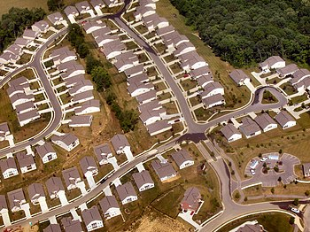 Very low (auto-oriented) density suburban development near Cincinnati, Ohio, United States