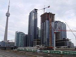 The rising towers of CityPlace in November 2008
