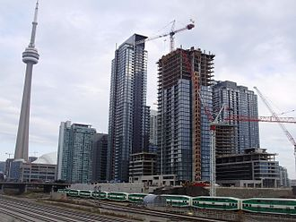 CityPlace, Toronto - Construction in CityPlace in 2008, looking south from the Union Station Rail Corridor. CityPlace reached its final phase of redevelopment in the early 21st century.