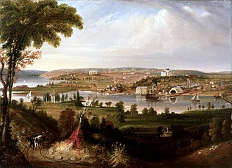 History of Washington, D.C. - City of Washington from Beyond the Navy Yard by George Cooke, 1833, on display in the White House Oval Office