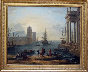 Vue d'un port de mer, effet de brume