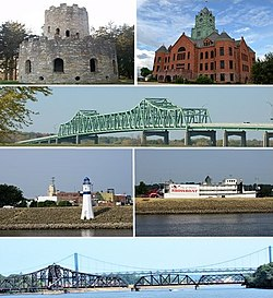 Top row: Eagle Point Park, Clinton County Courthouse; Second row: Mark Morris Memorial Bridge, Third row: Clinton Riverfront, Clinton Showboat Theater; Bottom row: Gateway Bridge behind the Clinton Railroad Bridge