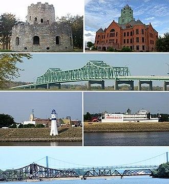 Clinton, Iowa - Top row: Eagle Point Park, Clinton County Courthouse; Second row: Mark Morris Memorial Bridge, Third row: Clinton Riverfront, Clinton Showboat Theater; Bottom row: Gateway Bridge behind the Clinton Railroad Bridge