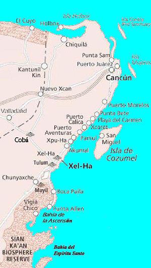 Xelha - Image: Coba Xelha Cozumel Cancan Map