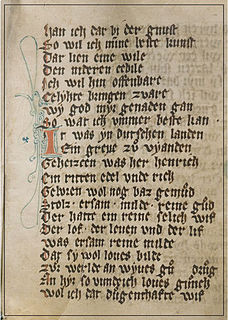 manuscript on vellum containing an epic poem by Hermann of Veldenz
