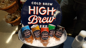 A display of cold brew coffees in a Whole Foods market.