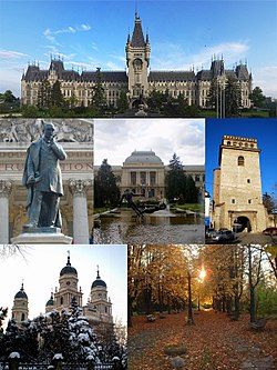 Frae top left: Palace o Cultur, Vasile Alecsandri Statue in front o the National Theatre, Alexandru Ioan Cuza University, Golia Tower, Metropolitan Cathedral, an the Botanical Garden