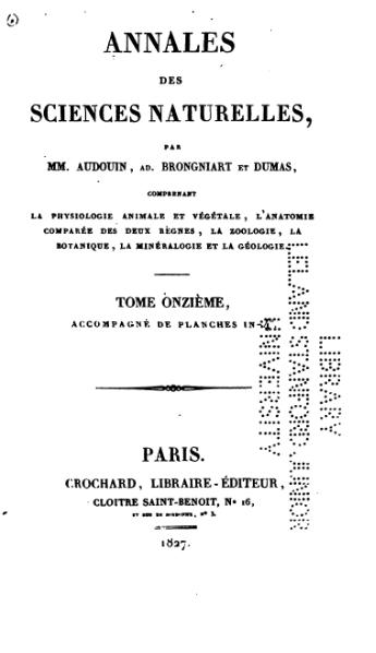 File:Collectif - Annales sciences nat, Vol 11, Crochard, 1827.djvu