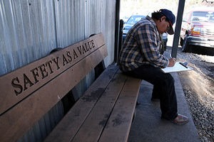"""Safety culture - """"Safety as a value"""" inscribed on a bench at a coal mine in Colorado."""