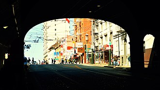 Stockton Street (San Francisco) - Image: Coming Out of the Stockton Tunnel (29780812760)