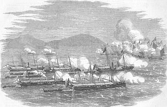 Battle of Escape Creek - Commodore Elliot leading gunboats to attack the Mandarin junks