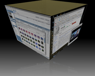 Virtual desktop - Virtual desktops rendered as the faces of a cube.  In this example a Unix-like operating system is using the X windowing system and the Compiz cube plugin to decorate the KDE desktop environment.