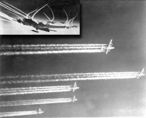 Chemtrail conspiracy theory - Contrails from propeller-driven aircraft engine exhaust, early 1940s