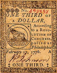 Continental One Third Dollar Note (obverse)