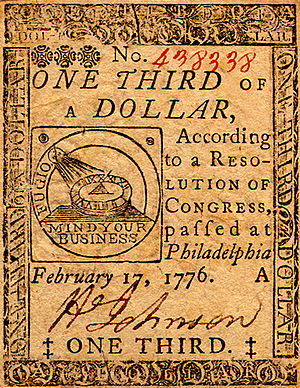 Early American currency - Continental One Third Dollar Note (obverse)