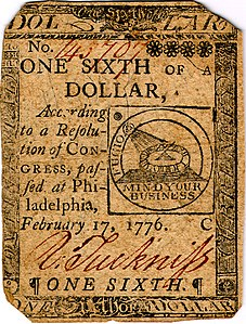 Continental Currency one-sixth dollar banknote obverse (Plate C, February 17, 1776).jpg