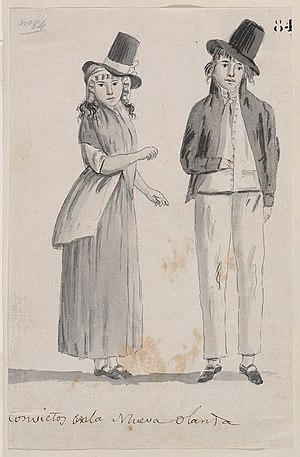 Convicts in Australia - Drawing of convicts in New Holland, 1793