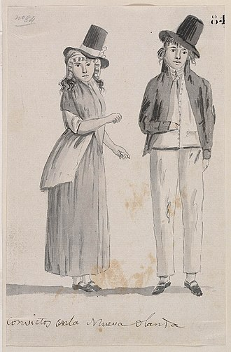 Convicts in Australia - Convicts in New Holland, 1793, by Juan Ravenet