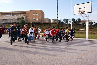 Physical education - Young Portuguese children participating in a school race