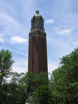 South Dakota State University - The Coughlin Campanile completed in 1929 on west campus. It was listed on the National Register of Historic Places in 1987.
