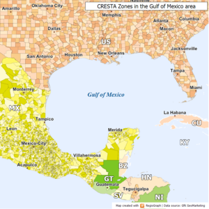 CRESTA - Map sample of the CRESTA system. It shows individual zones in the Gulf of Mexico region; within a zone the risk is for insurance considered to be equal.