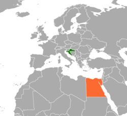 Map indicating locations of Croatia and Egypt