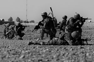 Role of Georgia in the War in Afghanistan (2001–14) - Georgian soldiers with the Batumi Light Infantry Battalion provide 360-degrees of protection during a patrol halt near in the Helmand province in November 2013.