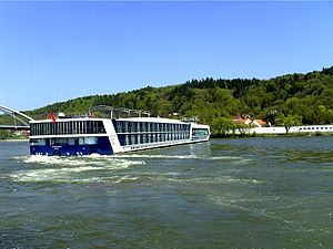 A River-Cruise ship on the Danube is turning-o...