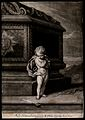 Cupid standing next to a tomb weeping and mourning the death Wellcome V0042376.jpg