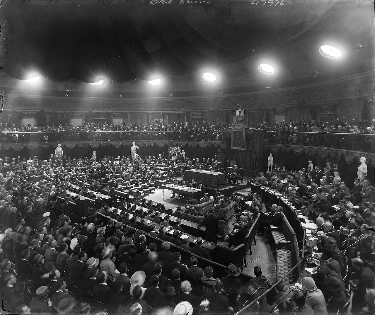 A Dáil sitting in the Round Room of the Mansion House in 1921