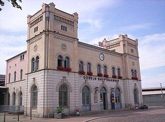 Borsdorf–Coswig railway - Döbeln Hbf entrance building of 1868