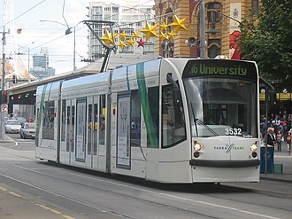 Melbourne tram route 16 - D class tram on Swanston Street in November 2005